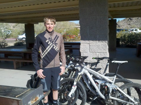 U19er Stephan Davoust stands next to his Trek Test Bike Quiver today in Phoenix, AZ. Davoust is interning with Travis Brown and Trek's R&D Team. He will be in charge of keeping the bikes running smooth throughout the week and will learn the ins and outs of product development. Lucky High Schooler!