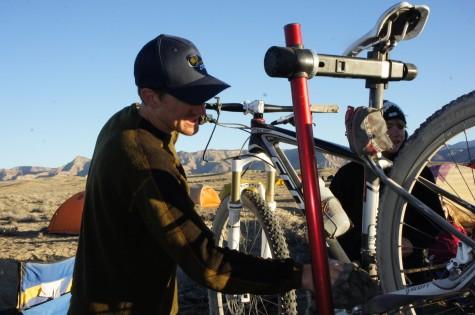 Garrett gets the bikes ready