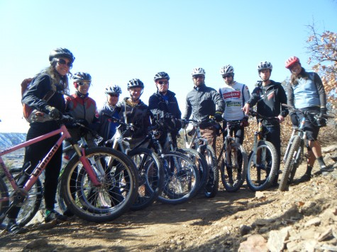 The 2010 DEVO U14,19 and Just Ride coaches take a break on the Animas City Mountain Trail last weekend. The crew was super pumped to be out on the all terrain bicycles and even more pumped to get riding with the junior athletes.