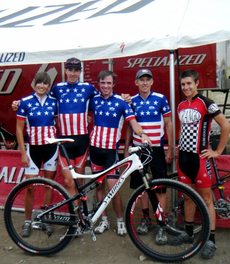 Dang Man! AliciaRose Pastore, Todd Wells, Tad Elliott, Ned Overend and Howard Grotts all pose together for Team Specialized after Todd's super rad cross country Championship Victory