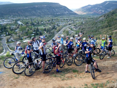 The U14 Boys Team peace's out above Chpman Hill after a preride of the 2011 Iron Horse cross country course with guest riders Chris Wherry or American road racing lore and Matt Phillips Bicycling magazines product test editor