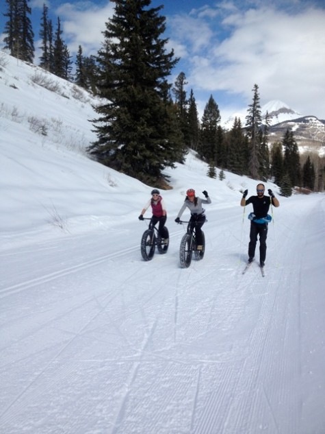 Check out the snow bikers at the Durango Nordic Center!
