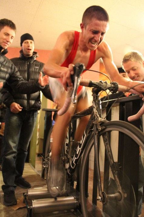 Devo Alumni Howard Grotts exploding himself for the crowd at last evenings Snowdown Roller Races.