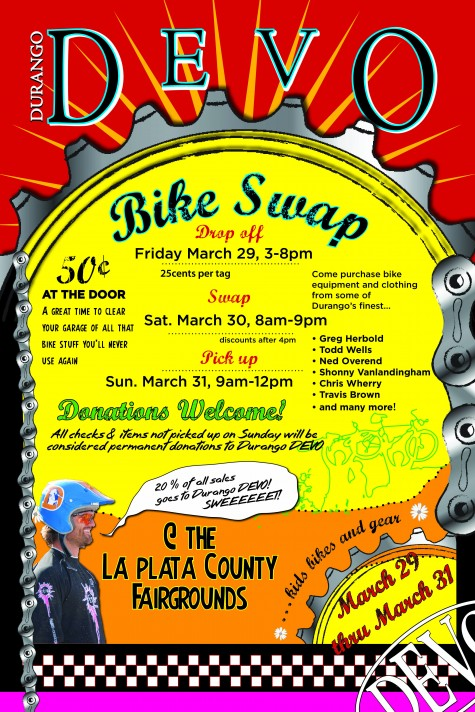 Go and get your old bike stuff out of the garage and bring it to the fairgrounds this friday. We'll sell it for ya! Go Devo!