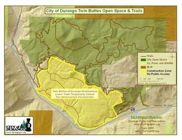 The Twin Buttes trails are open but the lower loops (highlighted in yellow in the map) are closed due to infrastrucure installment. Signs will direct you to parking. Thanks Trails 2000 and City of Durango for this new sweet trail system.