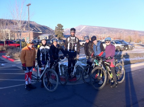 The Durango Devo Crossers, from left, Will, Keenan, Galen, Coach Chad, Emily, Carly and Sierra, minus Kaylee, get ready to head out on a mission into the wild. The team rode up Lions Den and then rode several laps o the FLC practice course. The snow made cornering fun and only half of the team got frostbite. After the sun set the Crossers did one last lap at full speed and rode down Lions Den under the full moon. Super Sweet!